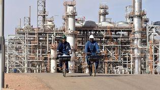 Des ouvriers devant le site gazier d'In Amenas, à 1300km d'Alger, l'un des plus importants du pays. (RYAD KRAMDI / AFP)