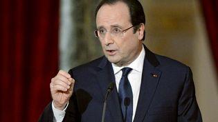 Le président de la République, François Hollande, lors d'une conférence de presse, au Palais de l'Elysée, à Paris, le 14 janvier 2014. (ALAIN JOCARD / AFP)