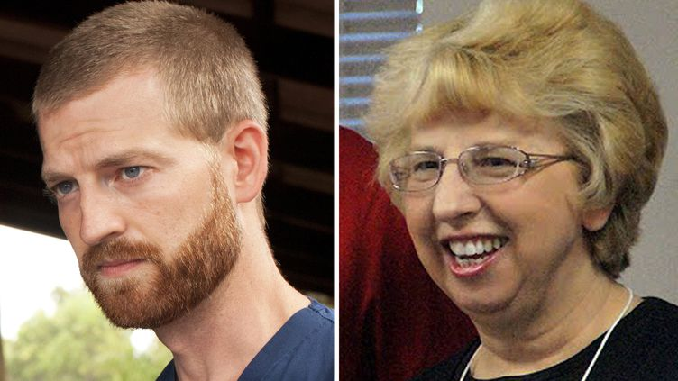 Kent Brantly et Nancy Writebol, les deux médecins américains qui ont guéri d'Ebola. (SIM/SAMARITAN'S PURSE / AFP)