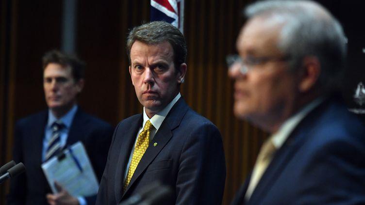 Le ministre australien du commerce,Dan Tehan, donne une conférence de presse le 2 avril 2020 à Canberra. (MAXPPP)
