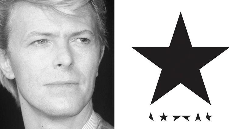 """David Bowie à Cannes en 1983 et la pochette de son ultime album """"Blackstar"""", paru le 8 janvier 2016, deux jours avant sa mort.  (Robert Patrick / Sipa - Album Columbia/Sony)"""