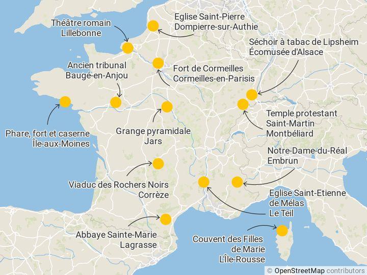Les sites emblématiques du loto du patrimoine 2020 enmétropole. (FRANCEINFO)