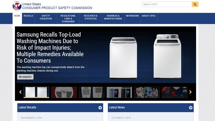Le site de la commissionaméricaine de protection des consommateurs. (CAPTURE D'ÉCRAN CPSC.GOV)