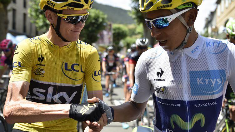 Chris Froome et Nairo Quintana au départ  (JEFF PACHOUD / AFP)