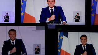 Le président de la République Emmanuel Macron lors de son allocution sur les assouplissements du confinement mardi 24 novembre 2020 à Paris. (THOMAS COEX / AFP)