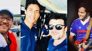 L'acteur et comique Dany Boon et les chanteurs Patrick Bruel et Vianney, tous férus de football, avaient fait le déplacement au stade Louzniki de Moscou pour encourager l'Equipe de France lors de la finale de la Coupe du Monde.  (Instagram Dany Boon/Patrick Bruel/Vianney)