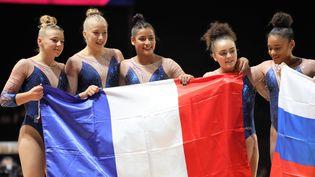 Des gymnastes françaises participent aux championnats d'Europe 2018 à Glasgow (Royaume-Uni), le 4 août 2018. (LAURENT LAIRYS / AFP)