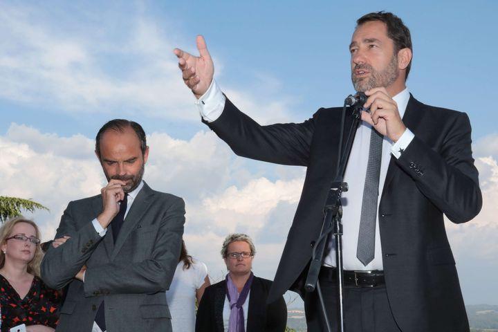 Christophe Castaner aux côtés du Premier ministre Edouard Philippe, à Manosque (Alpes-de-Haute-Provence), le 2 juin 2017. (J.LOPEZ/SIPA)