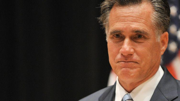 Le candidat républicain à la présidentielle américaine,Mitt Romney, lors d'une conférence de presse à Costa Meisa, en Californie (Etats-Unis), le 17 septembre 2012. (NICHOLAS KAMM / AFP)