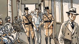 """Meursault, le héros de """"L'Etranger"""", est arrêté pour le meurtre d'un Algérien.  (Jacques Ferrandez)"""