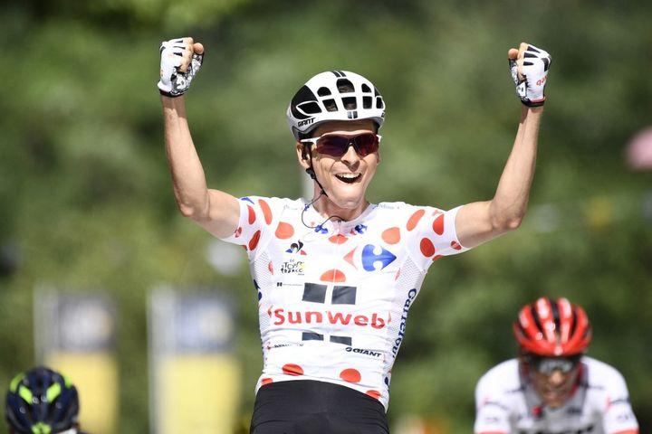 Le 14 juillet 2017, Warren Barguil s'impose à Foix, lors de la 13e étape du Tour de France. (YORICK JANSENS / BELGA MAG)