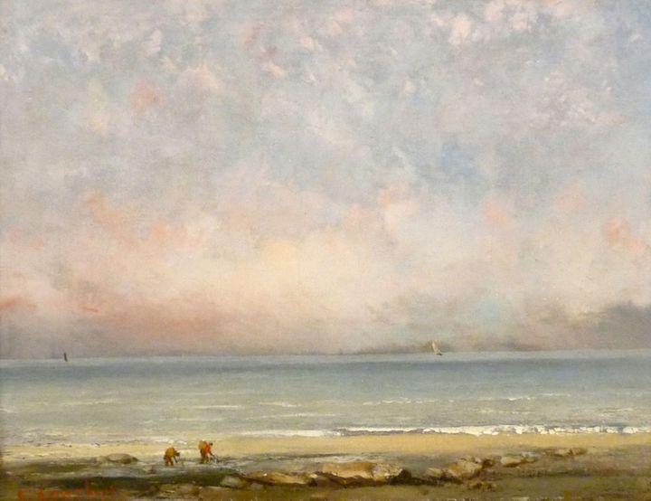 """Gustave Courbet, """"La plage à Trouville"""", vers 1865, Caen, association Peindre en Normandie  (Association Peindre en Normandie)"""