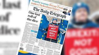 """La une du quotidien britannique """"The Daily Telegraph"""" le 15 mars 2019, au lendemain du vote sur le report du Brexit. (DAILY TELEGRAPH)"""