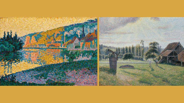 """A gauche,Paul Signac (1863 – 1935), """"Les Andelys. Soleil couchant"""", 1886, Huile sur toile - A droite, Camille Pissarro (1830 – 1903), """"La Briqueterie Delafolie à Éragny"""", 1888, Huile sur toile (A gauche et à droite : Collection particulière)"""