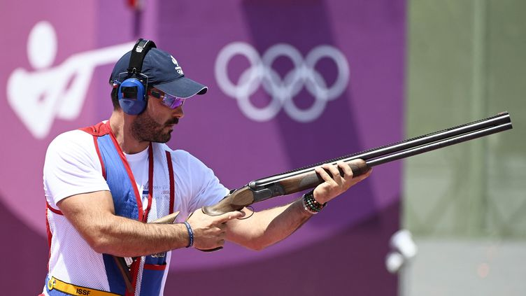 Le tireur français Eric Delaunay, lors du tournoi olympique à Tokyo, le 26 juillet 2021. (HERVIO JEAN-MARIE / KMSP / AFP)