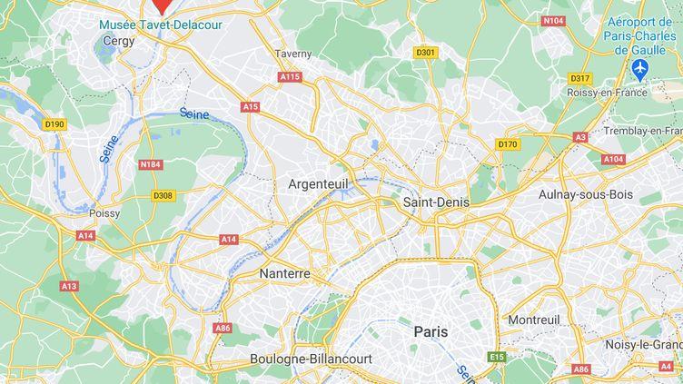 Deux personnes ont été tuées à Pontoise (Val-d'Oise), le 1er avril 2021, après un règlement de comptes dû au vol d'une moto. (CAPTURE ECRAN GOOGLE MAPS)