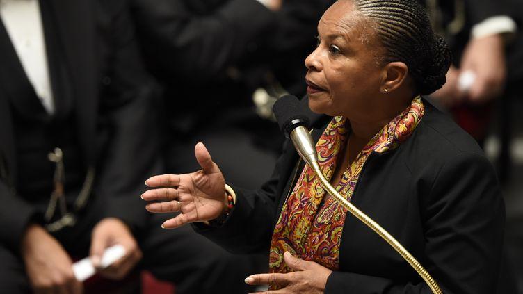 Christiane Taubira lors d'une séance de questions au gouvernement, le 30 Septembre 2015 l'Assemblée nationale (ERIC FEFERBERG / AFP)