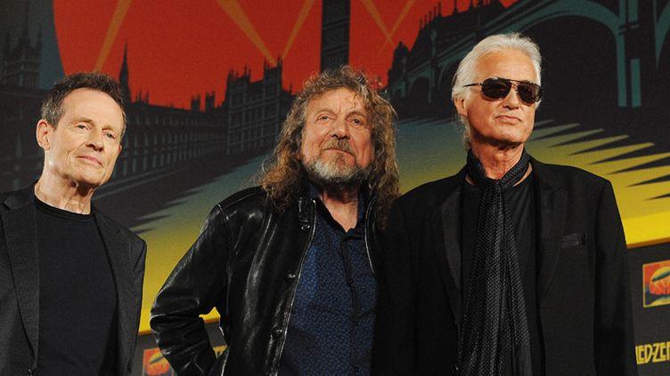 John Paul Jones, Robert Plant et Jimmy Page, de Led Zeppelin, le 21 septembre 2012 à Londres  (Andy Rain / EPA / MaxPPP)