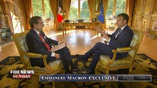 Emmanuel Macron a accordé un entretien à la chaîne américaine Fox News, diffusé dimanche 22 avril, à la veille de sa visite d'Etat à Washington (Etats-Unis). (FOX NEWS SUNDAY / FOX NEWS)