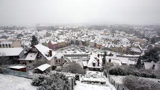 La ville de Montbéliard (Doubs) sous la neige, le 13 janvier 2017. (MAXPPP)