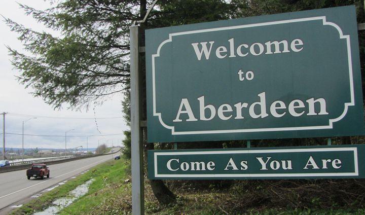 Le panneau d'accueil d'Aberdeen  (MICHAEL THURSTON / AFP)