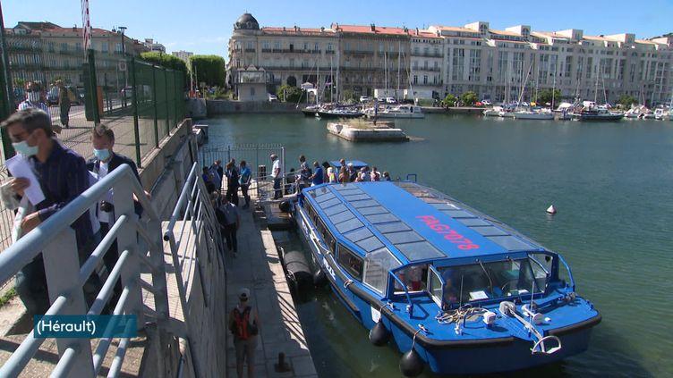 La phase d'essai du bateau-bus a été lancé lundi 7 juin. Les premiers retours sont plutôt positifs. (France 3 Languedoc-Roussillon)