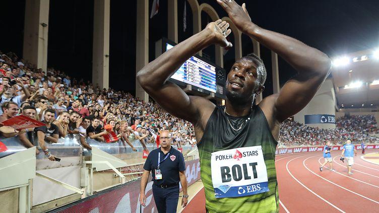 Usain Bolt, vainqueur de sa dernière course en meeting à Monaco (VALERY HACHE / AFP)