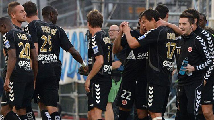 La joie des joueurs de Reims