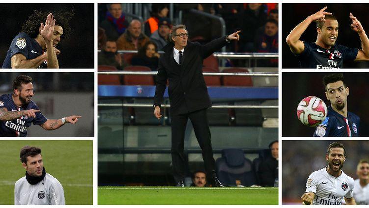 A gauche, Edinson Cavani, Ezequiel Lavezzi et Thiago Motta. A droite, Lucas, Javier Pastore et Yohan Cabaye, qui devraient être titularisés par Laurent Blanc, l'entraîneur du PSG, samedi, à Bastia.