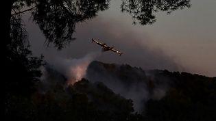 Un Canadair largue de l'eau sur l'incendie d'Istres (Bouches-du-Rhône), le 24 août 2020. (CHRISTOPHE SIMON / AFP)