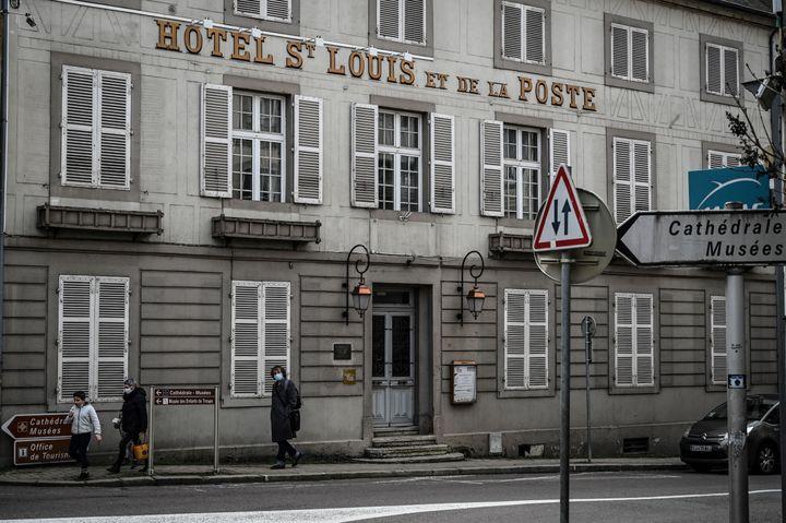 L'hôtel Saint-Louis, où séjourna Napoléon, Autun, 15 février 2021 (JEAN-PHILIPPE KSIAZEK / AFP)