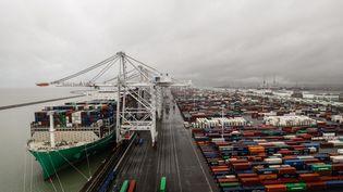 Une partie du port du Havre (Seine-Maritime). Photo d'illustration. (SAMEER AL-DOUMY / AFP)