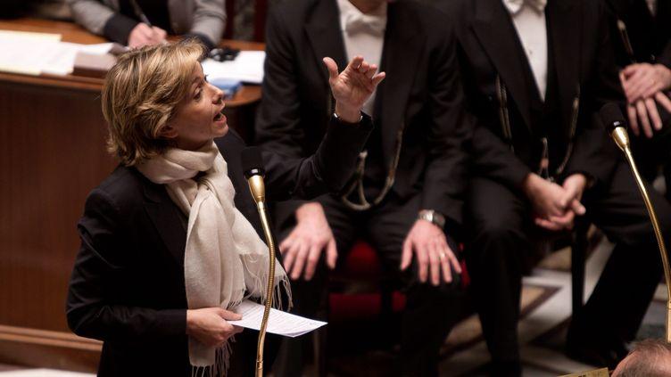 La ministre du Budget, Valérie Pécresse, le 21 février 2012, à l'Assemblée nationale, à Paris. (PHILIPPE DE POULPIQUET / MAXPPP)