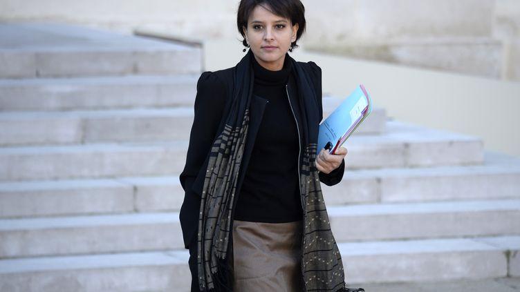 La porte-parole du gouvernement, Najat Vallaud-Belkacem, à l'Elysée, le 11 décembre 2013. (MARTIN BUREAU / AFP)