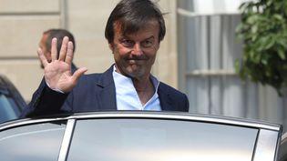 Nicolas Hulot quitte le palais de l'Elysée, le 23 mai 2018 à Paris. (LUDOVIC MARIN / AFP)