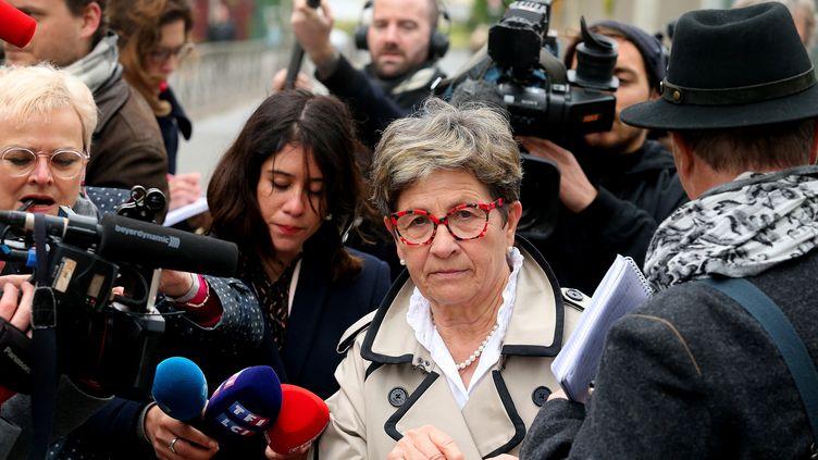 La mère de Vincent Lambert, Viviane Lambert, devant le CHU de Reims le 20 mai 2019. (FRANCOIS NASCIMBENI / AFP)