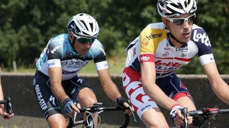 Jérôme Pineau (Omega Pharma) derrière le Belge Bart De Clercq