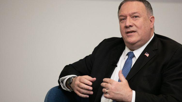 L'ancien secrétaire d'Etat américain Mike Pompeo, le 9 décembre 2020 à Atlanta, en Géorgie (Etats-Unis). (JESSICA MCGOWAN / GETTY IMAGES NORTH AMERICA / AFP)