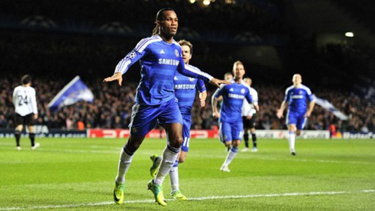 La joie de l'attaquant de Chelsea Didier Drogba