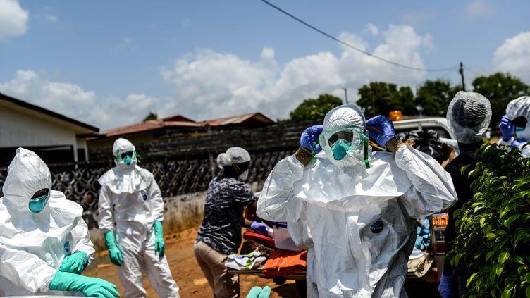 Des membres de la Croix-Rouge portent le corps d'une victime du virus Ebola, à Monrovia au Liberia, le 10 octobre 2014. (MOHAMMED ELSHAMY / ANADOLU AGENCY / AFP)
