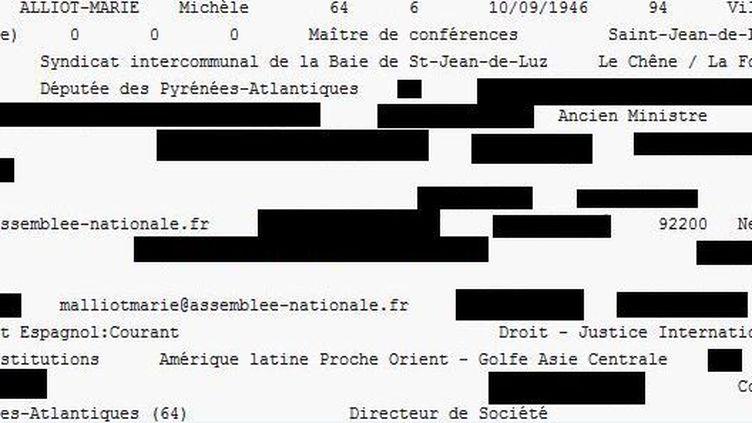 Extrait de la fiche personnelle de Michèle Alliot-Marie, consultable sur internet et faisant partie des documents probablement piratés. (RUE 89)