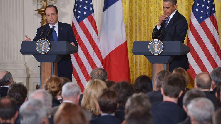 Conférence de presse conjointe le 11 février, à la Maison Blanche à Washington (Etats-Unis). (MANDEL NGAN / AFP)