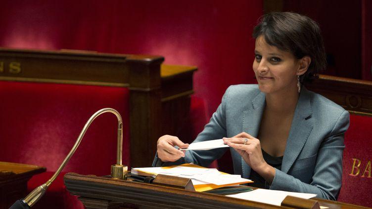 La ministre des Droits des femmes, Najat Vallaud-Belkacem, à l'Assemblée nationale, à Paris,peu avant le vote des députés concernant la pénalisation des clients de prostituées, le 4 décembre 2013. (JOEL SAGET / AFP)