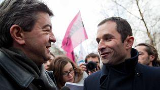 Les sympathisants de gauche préfèreraient un désistement de Jean-Luc Mélenchon en faveur de Benoît Hamon plutôt que l'inverse, selon un sondage* Odoxa pour franceinfo (LAURENT GARRIC / MAXPPP)