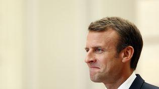 Emmanuel Macron, le 23 juin 2018, lors d'une conférence de presse avec le Premier ministre Espagnol. (THIBAULT CAMUS / POOL)