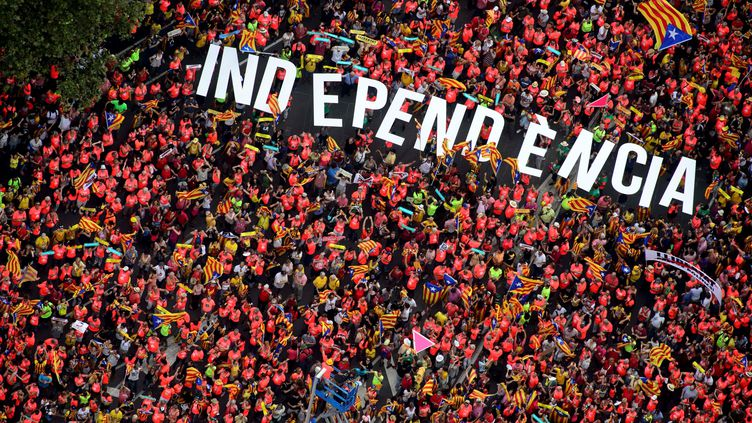 Les participants à laDiada, à Barcelone, le 11 septembre 2018. (ROSER VILALLONGA / CATALAN NATIONAL ASSEMBLY)