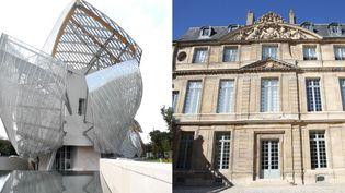 A gauche, la Fondation Louis Vuitton - A droite, le musée Picasso de Paris  (A gauche, Valérie Oddos / Culturebox / France Télévisions - A droite, Delphine Goldsztejn, PhotoPQR / Le Parisien / MAXPPP)
