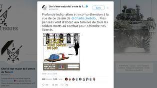 """Le chef d'état-major de l'armée de terre,Thierry Burkhard, fait part sur Twitter de sa """"profonde indignation"""" au sujet de caricatures de """"Charlie Hebdo"""" représentant les treize militaires morts au mali, le 30 novembre 2019. (CHEF D'ETAT-MAJOR DE L'ARMEE DE TERRE / TWITTER)"""