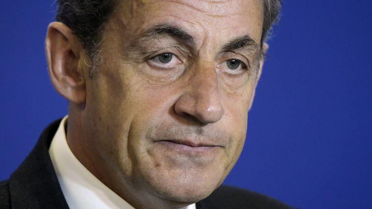 Nicolas Sarkozy au siège de l'UMP, à Paris, le 17 janvier 2015. (LIONEL BONAVENTURE / AFP)
