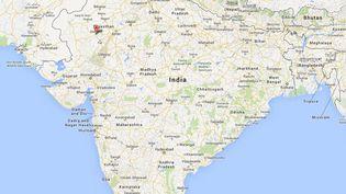 Capture d'écran de Google Maps pointant la ville deJodhpur (Rajasthan, Inde) où un accident de car a fait 34 blessés français, le 14 octobre 2013. (GOOGLEMAPS / FRANCETV INFO)